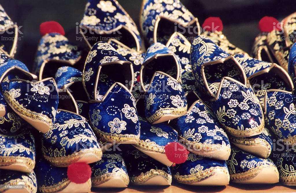 oriental blue shoes stock photo