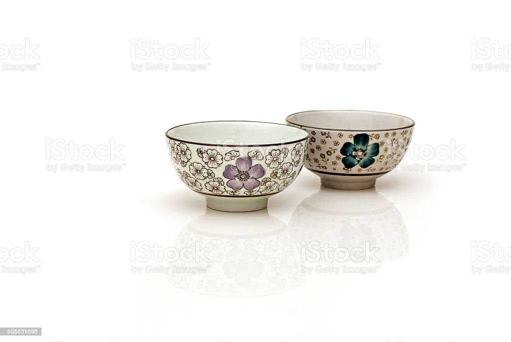 Oriental bowls with reflection stock photo