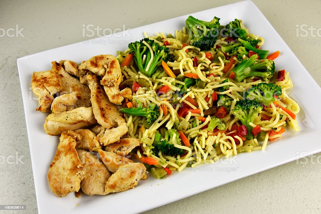 Oriental Chicken Entree stock photo