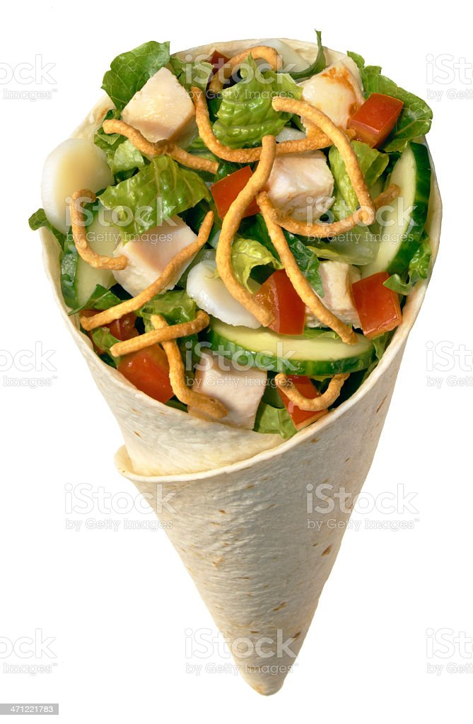 Oriental Chicken Salad Wrapped in a Tortilla stock photo