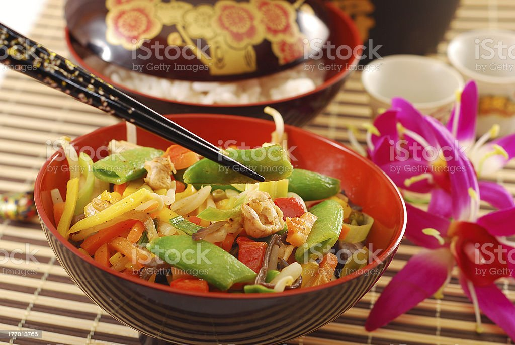 oriental chicken with vegetables stock photo