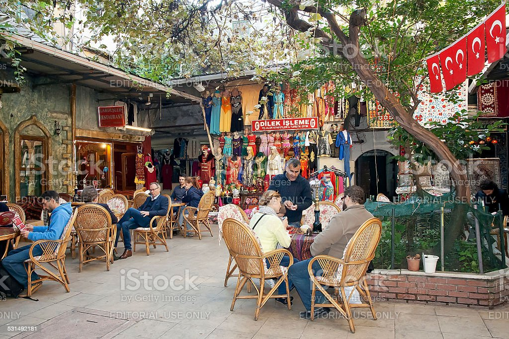 Oriental coffee house in a courtyard of Istanbul Grand Bazaar stock photo