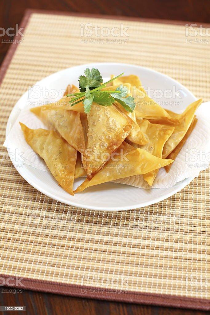 Oriental deep fried wontons stock photo