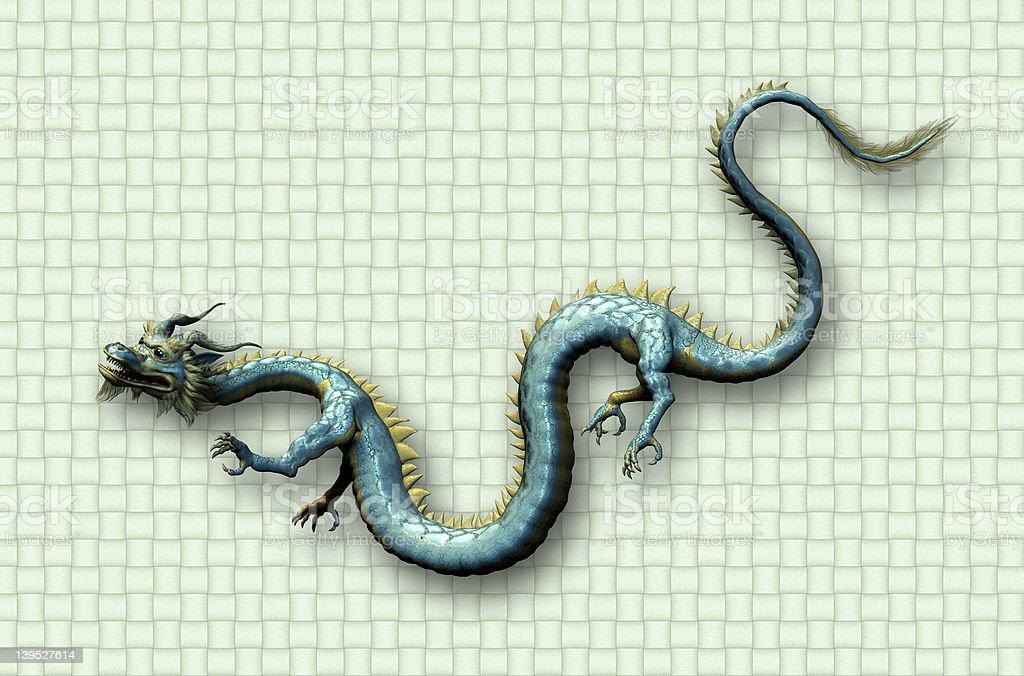 Oriental Dragon on Weave stock photo