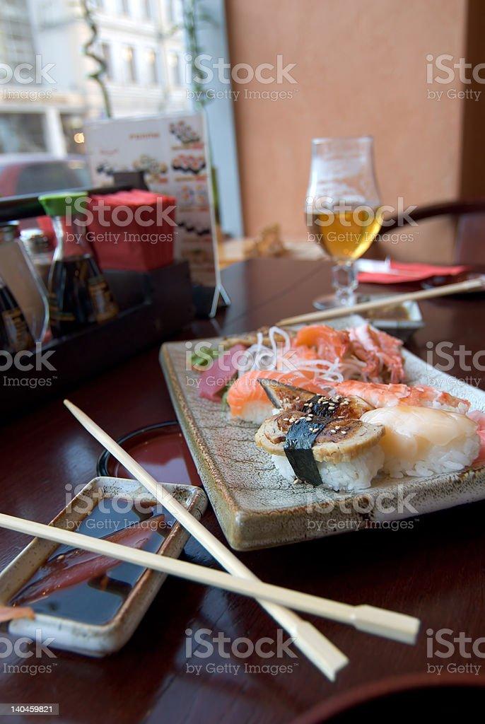 Oriental food at japaneese restaurant royalty-free stock photo
