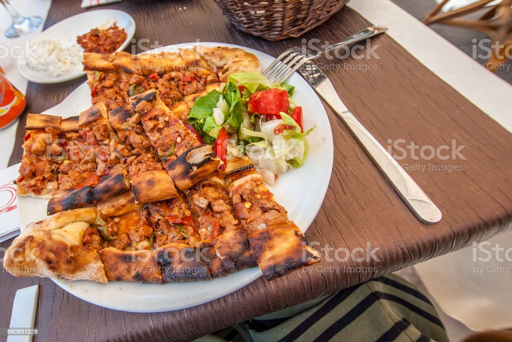 Oriental food on a plate, restaurant stock photo