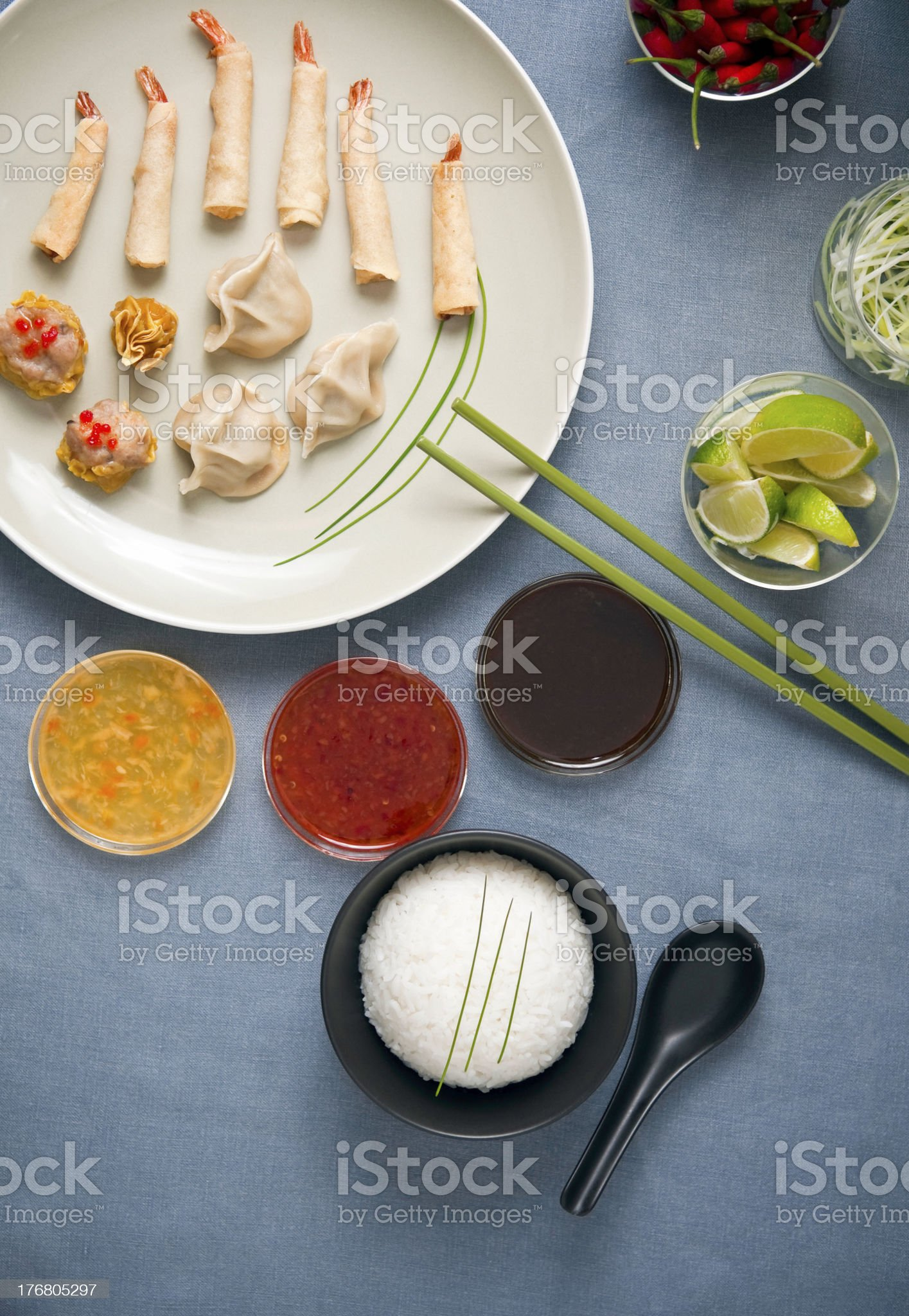 Oriental food selection, starters and dips. royalty-free stock photo