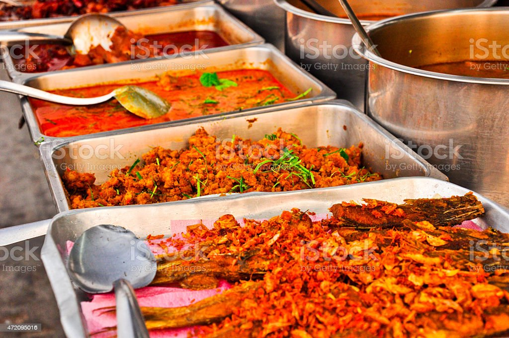 Oriental food - Thai street foods at a Thailand's market stock photo
