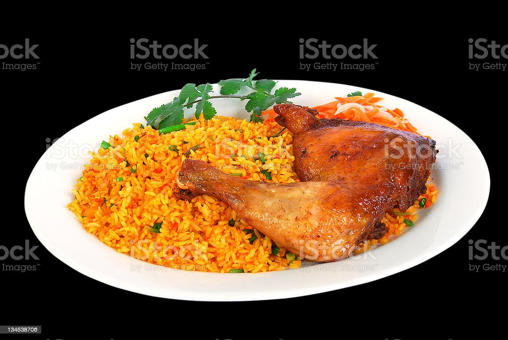 Oriental fried rice with BBQ chicken leg royalty-free stock photo
