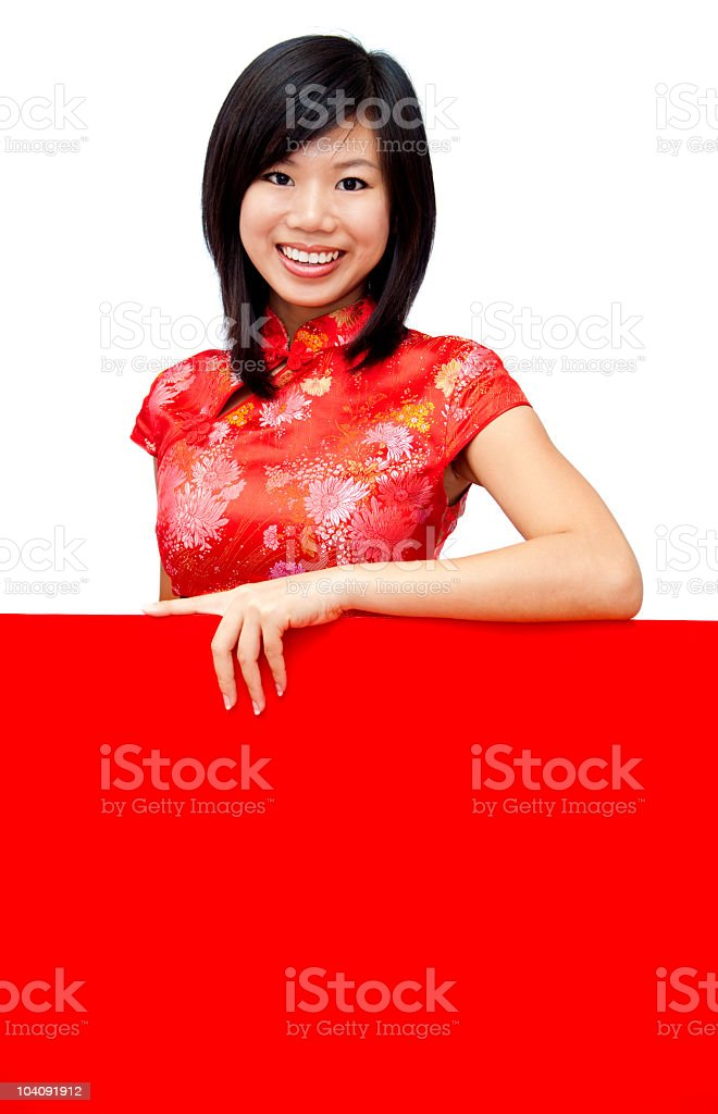 Oriental girl with blank sign royalty-free stock photo