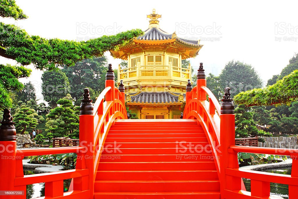 oriental golden pavilion of Chi Lin Nunnery and Chinese garden, stock photo