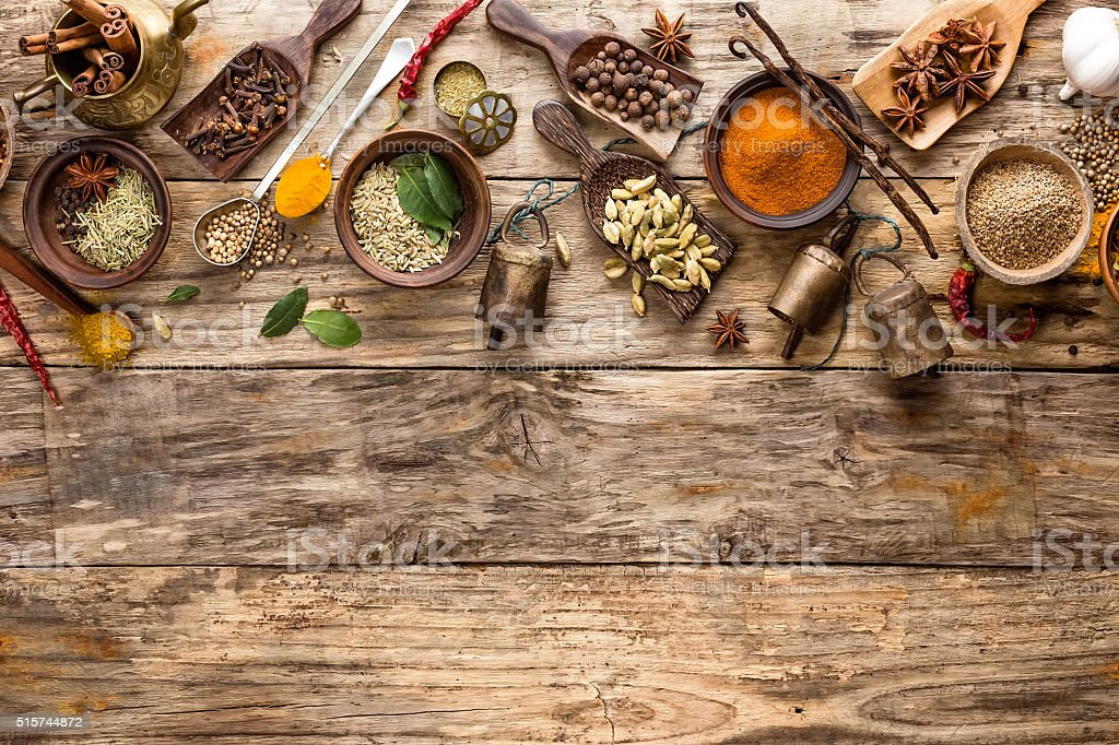 oriental indian spices stock photo