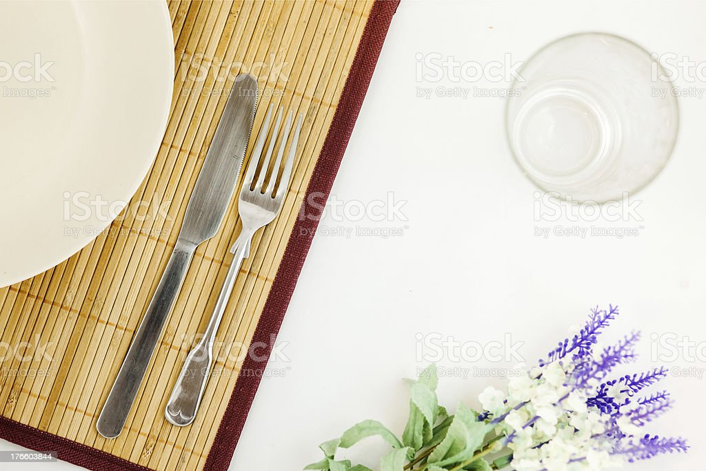 Oriental meal tray settings royalty-free stock photo