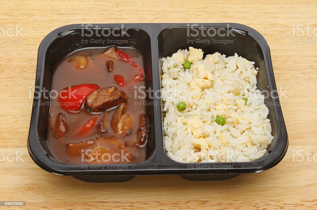 Oriental microwave meal stock photo