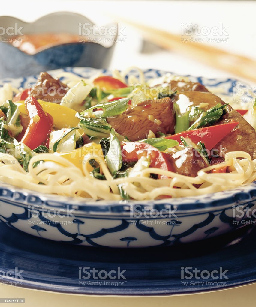 Oriental noodles with beef royalty-free stock photo