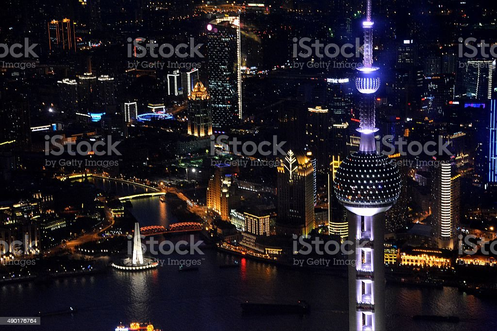 Oriental Pearl Tower and Shanghai cityscape, night view stock photo