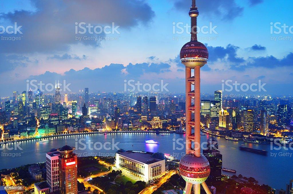 Oriental Pearl Tower and the Bund Skyline, Shanghai stock photo