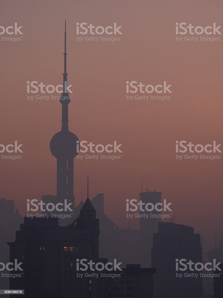 Oriental Pearl Tower at sunrize stock photo