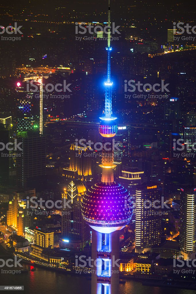 Oriental Pearl Tower at the nighttime stock photo