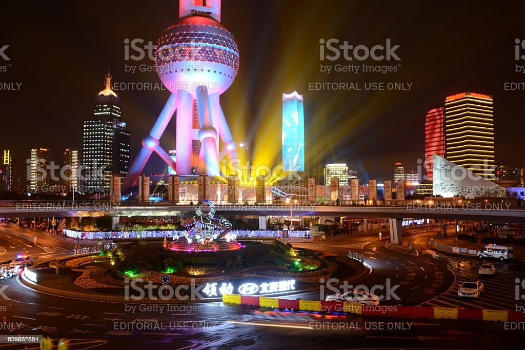 Oriental Pearl Tower on 2017 Chinese New Year, Shanghai, China stock photo