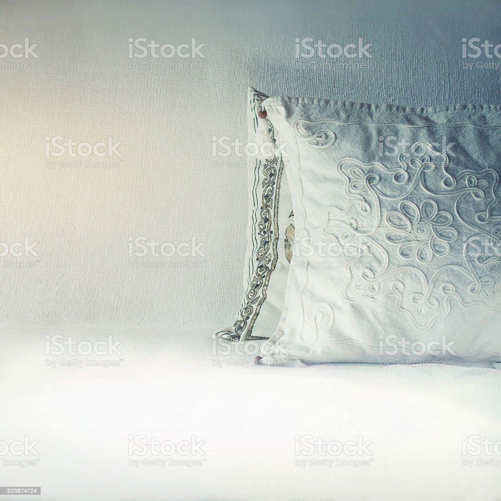 Oriental pillows background stock photo