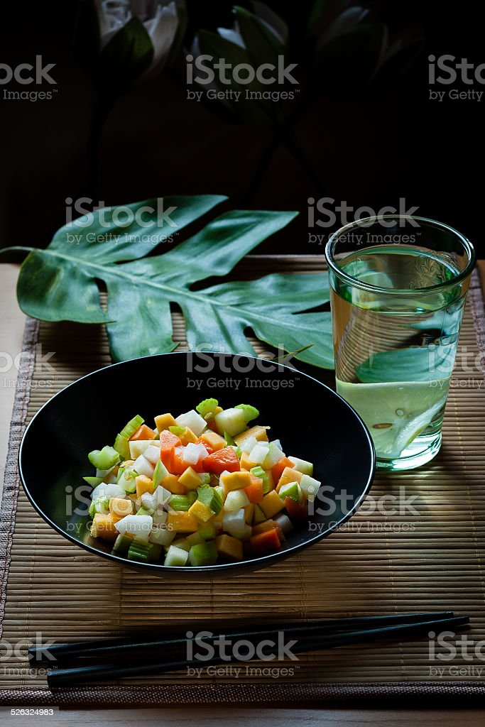 Oriental raw vegan salad stock photo