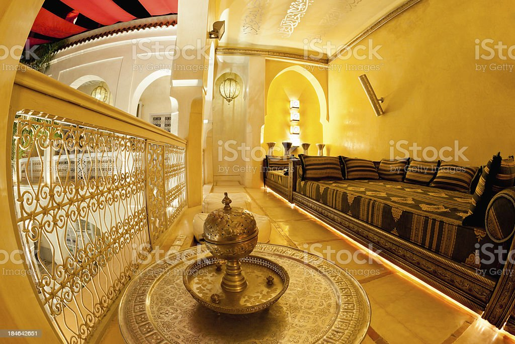 Oriental Riad Lounge Interior Design Median Marrakech Morocco royalty-free stock photo