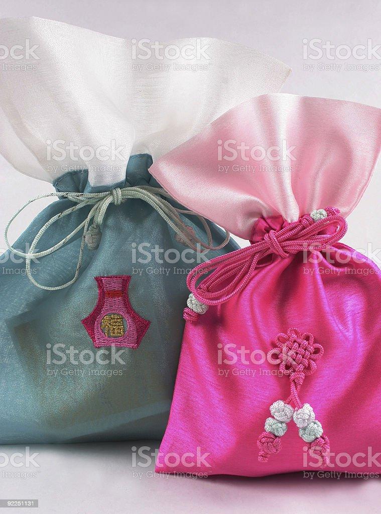 Oriental silk bags royalty-free stock photo