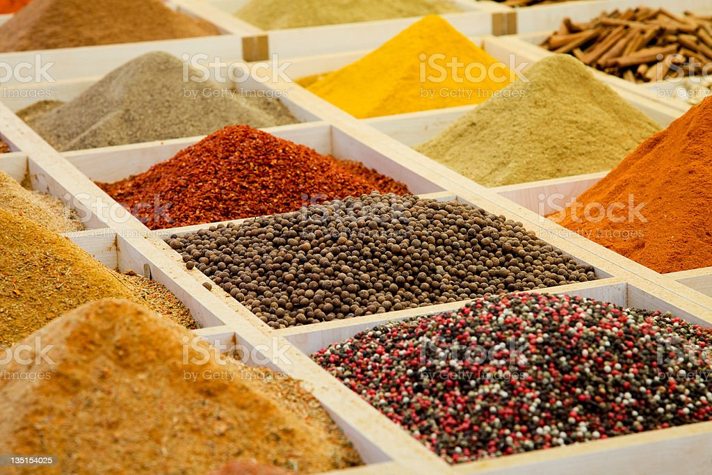 Oriental spice market....A variety of spices,Istanbul.Turkey royalty-free stock photo
