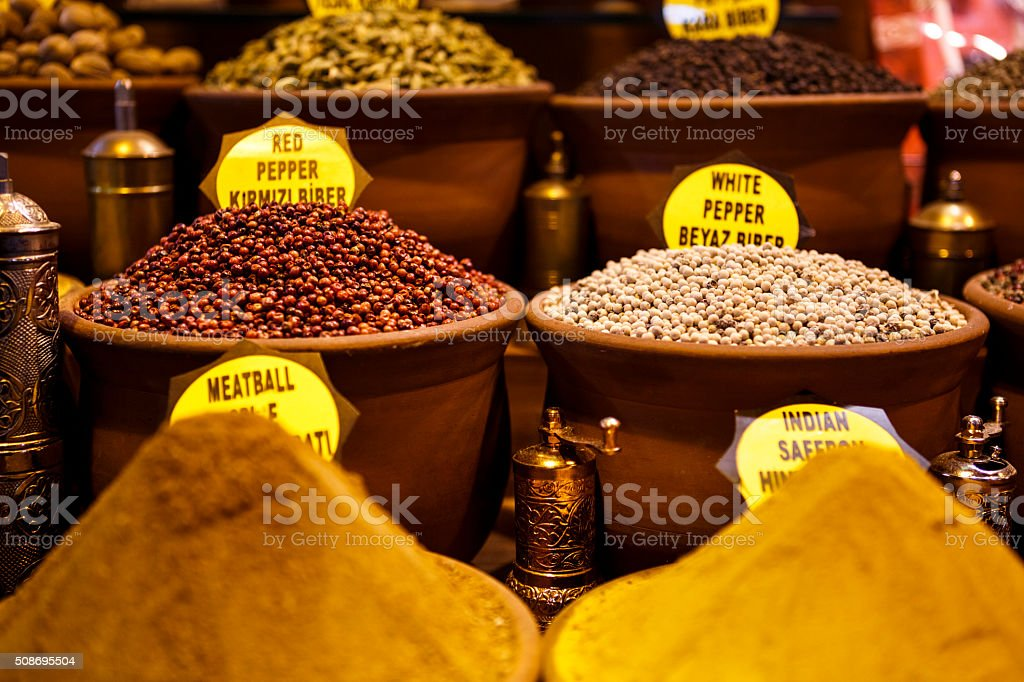 Oriental spice shop in Grand Bazaar, Istanbul, Turkey stock photo