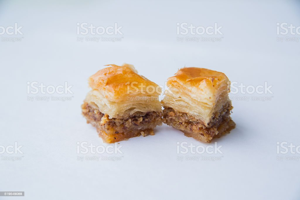 Oriental sweets with honey and nuts stock photo