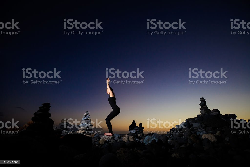 Oriental yoga session on Tenerife stock photo
