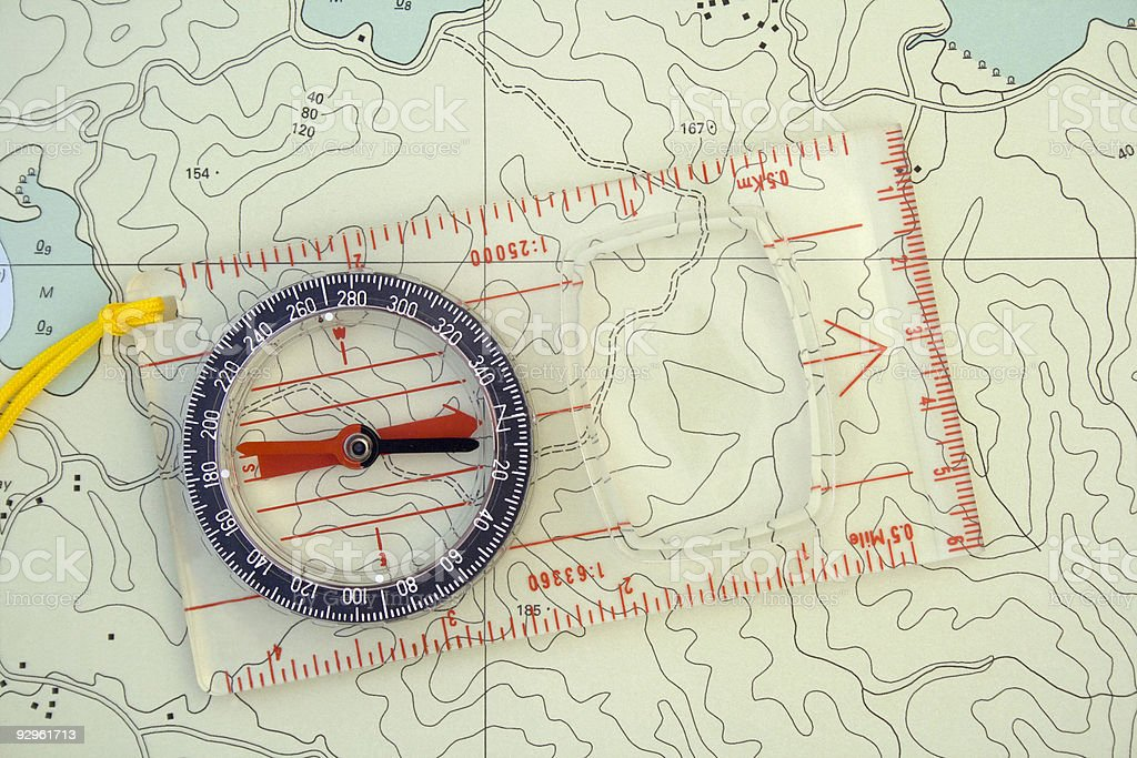 Orienteering Compass & Map stock photo