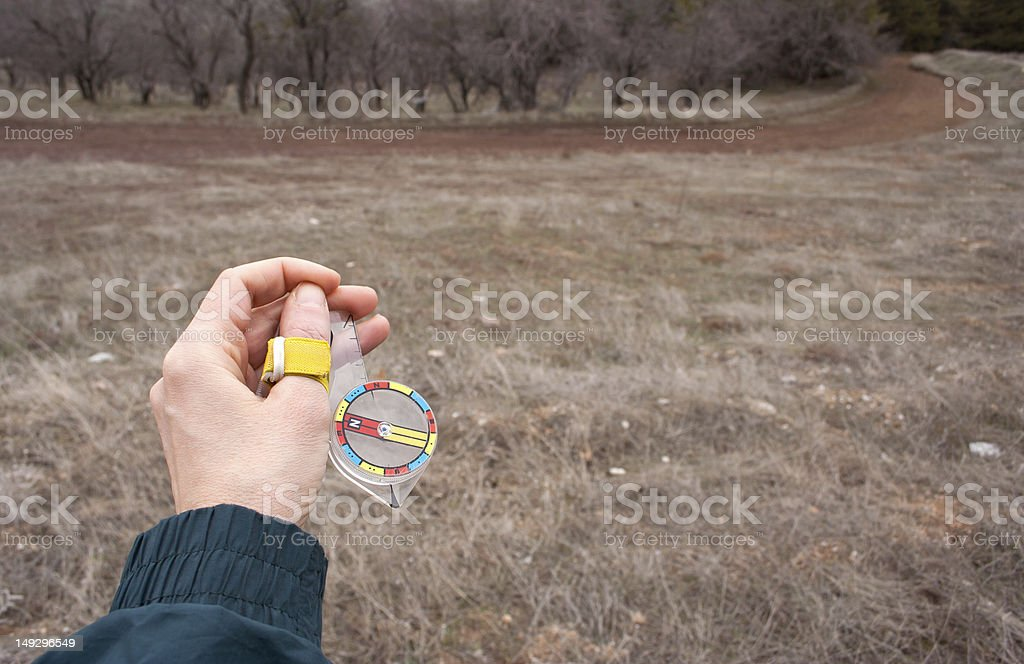 Orienteering Compass on The Field royalty-free stock photo