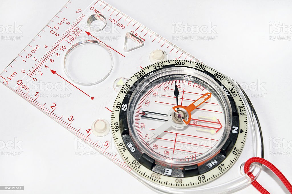 Orienteering Compass on the white background stock photo