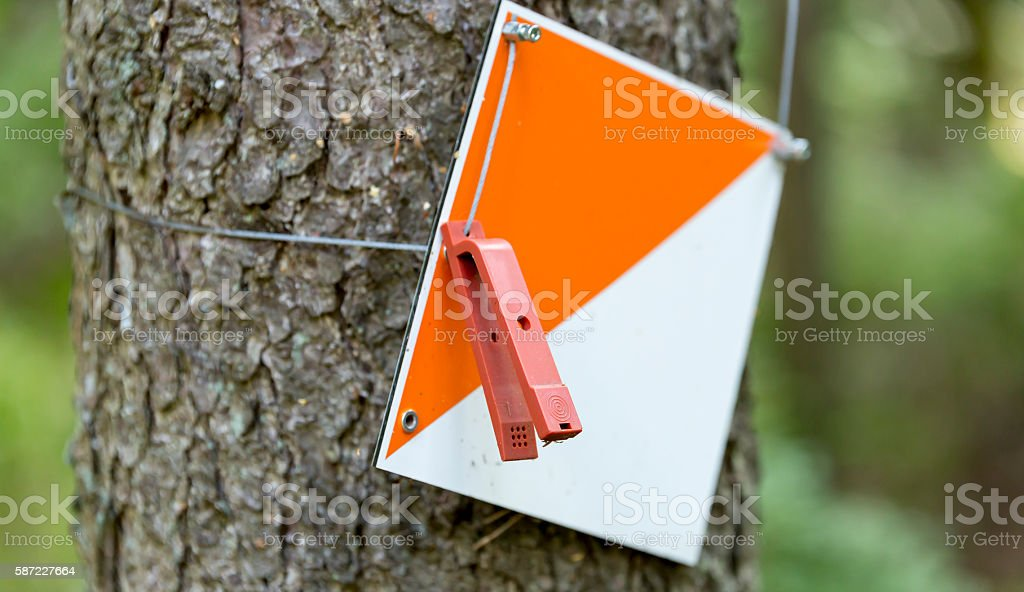 Orienteering Control Point stock photo