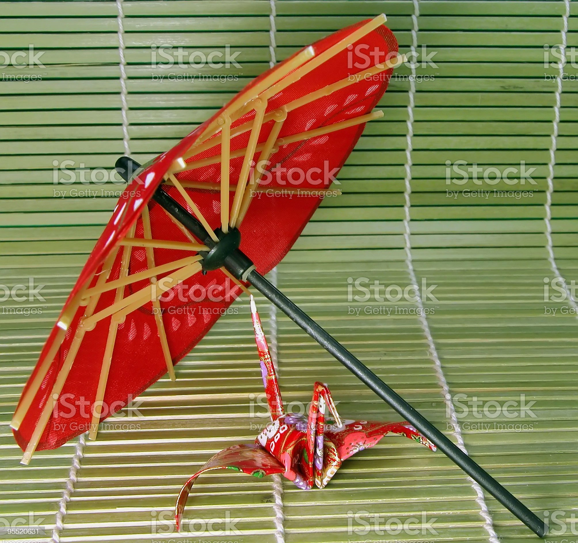 Origami and Japanese umbrella 2 royalty-free stock photo