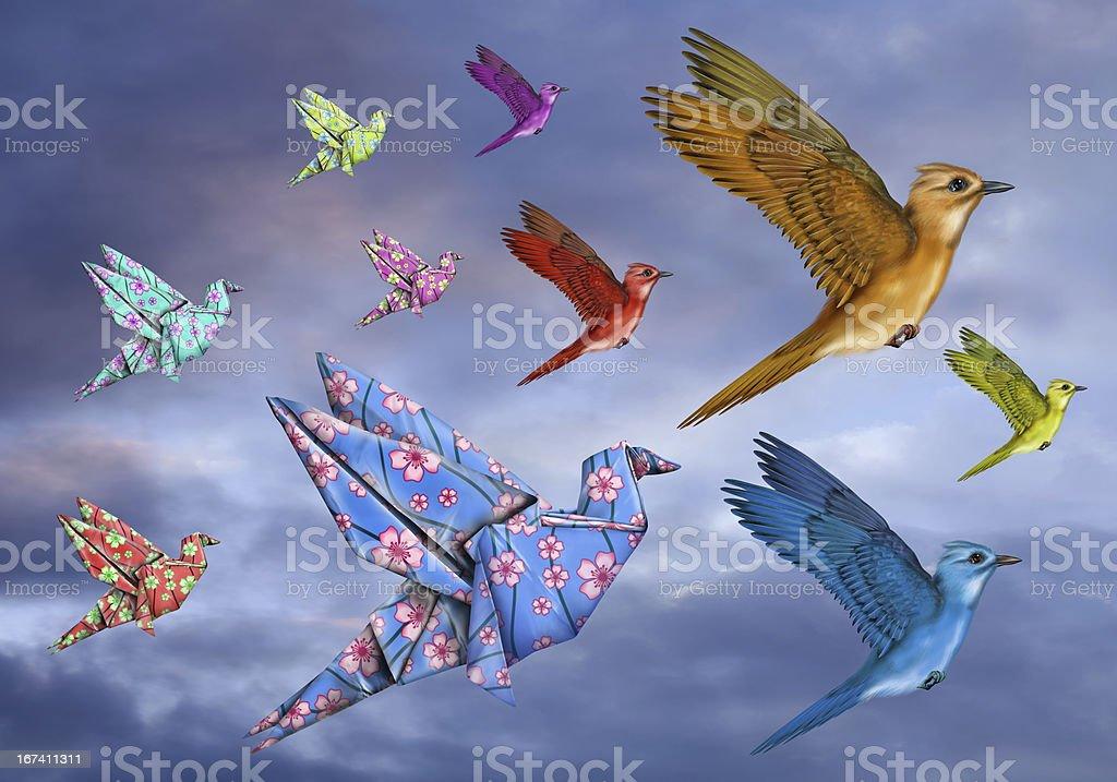 Origami Bird Dreamscape stock photo