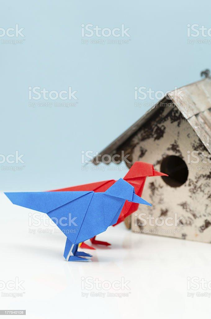Origami birds and birdhouse (XXXLarge) royalty-free stock photo