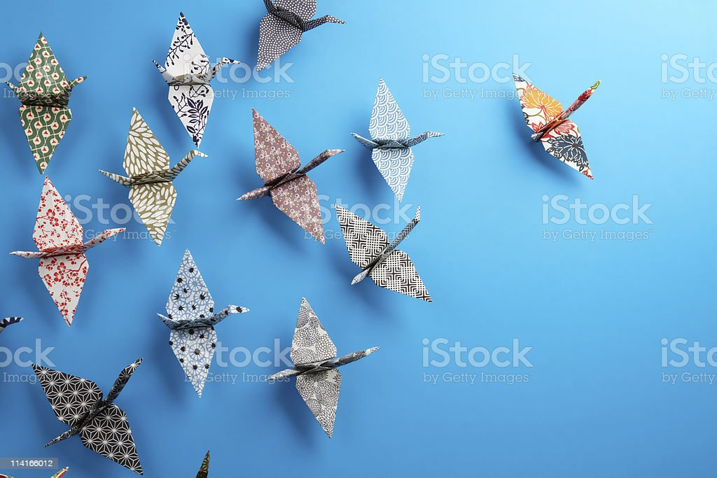 Origami birds stock photo