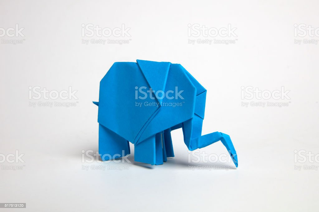 Origami Blue elephant stock photo