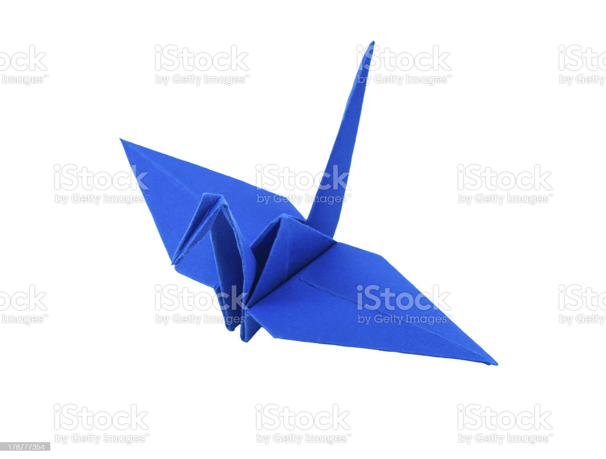origami blue paper bird on white background royalty-free stock photo