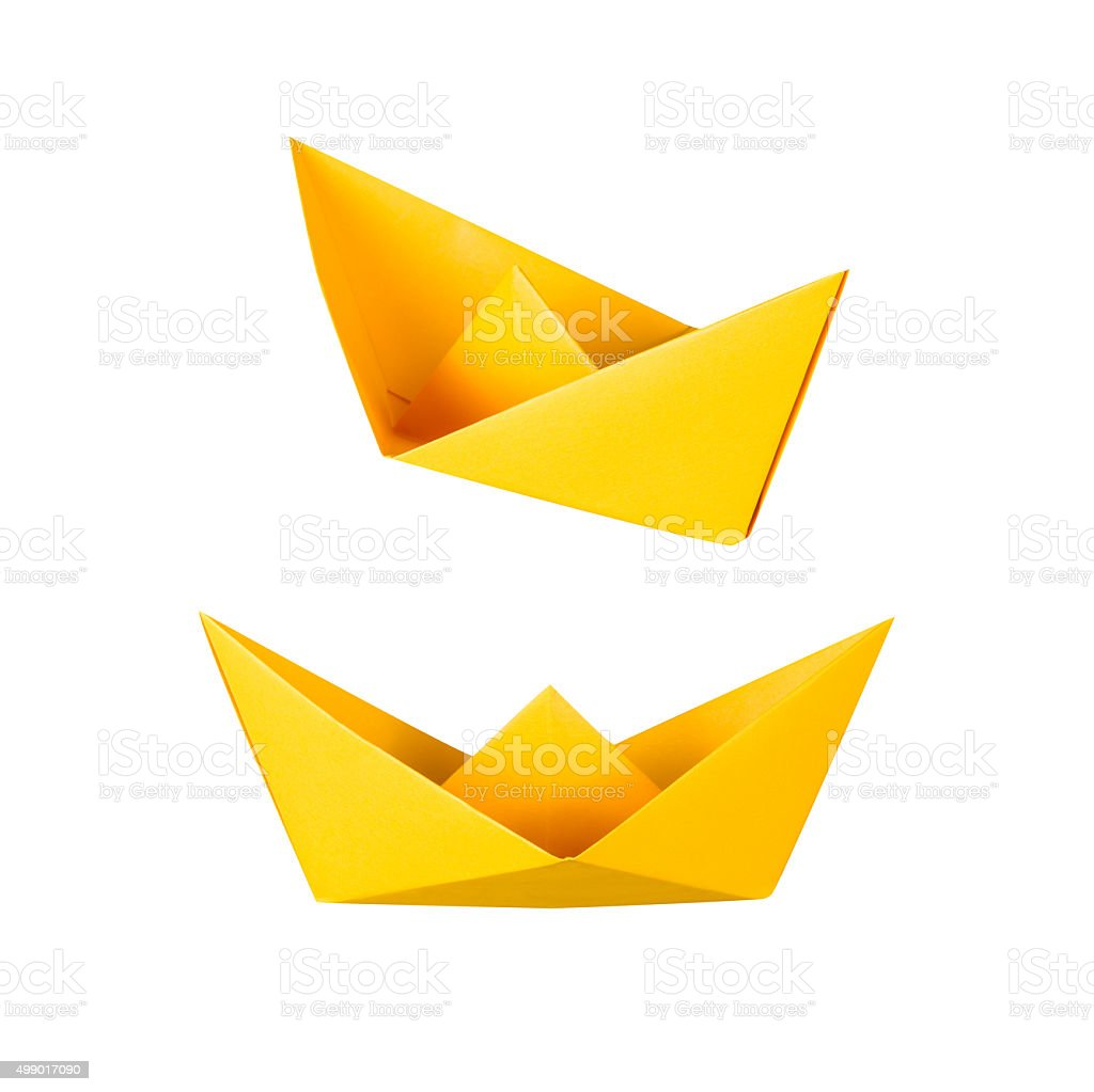 origami boat or paper boat on white background stock photo