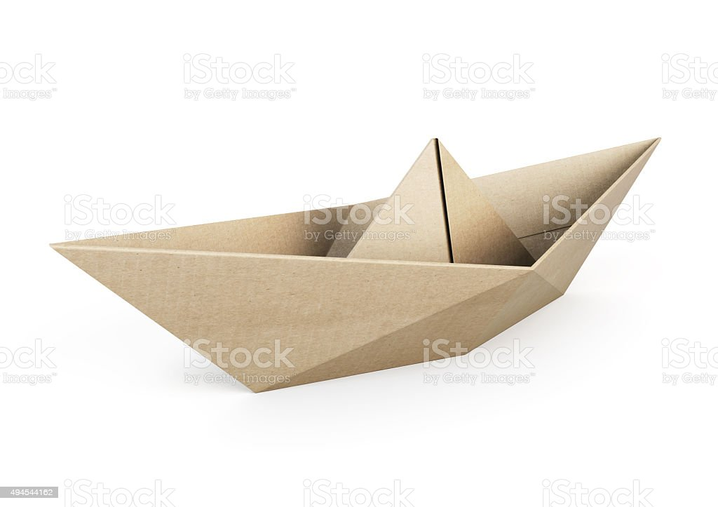 Origami boat out recycle paper on white background stock photo
