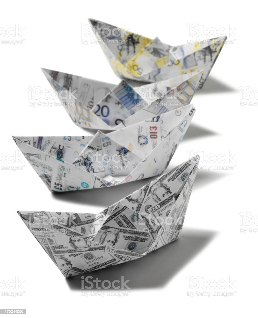 Origami Boats in United Currencies royalty-free stock photo