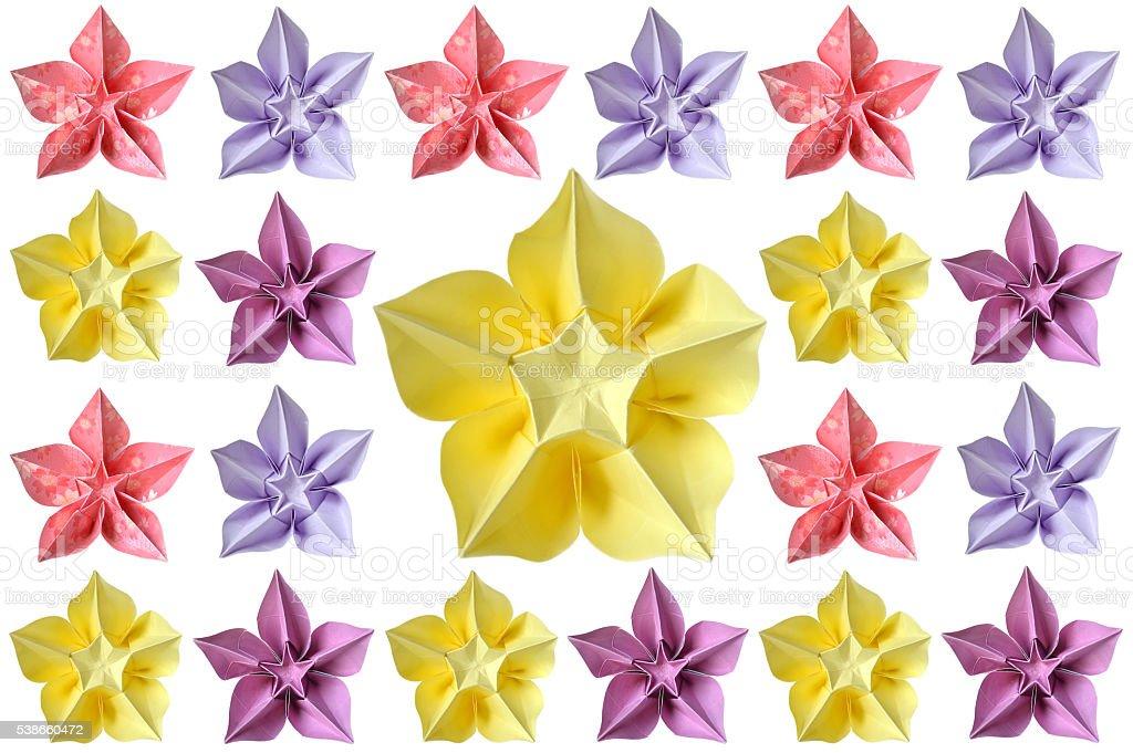 Origami carambola flower stock photo