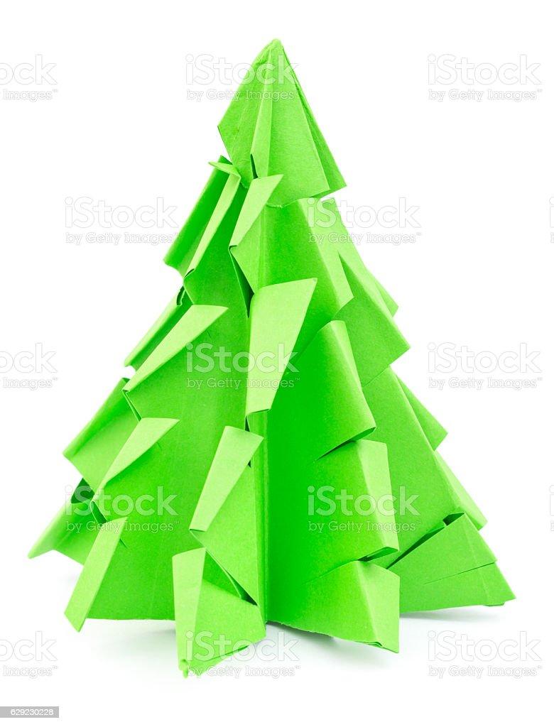 Origami Christmas tree isolated stock photo