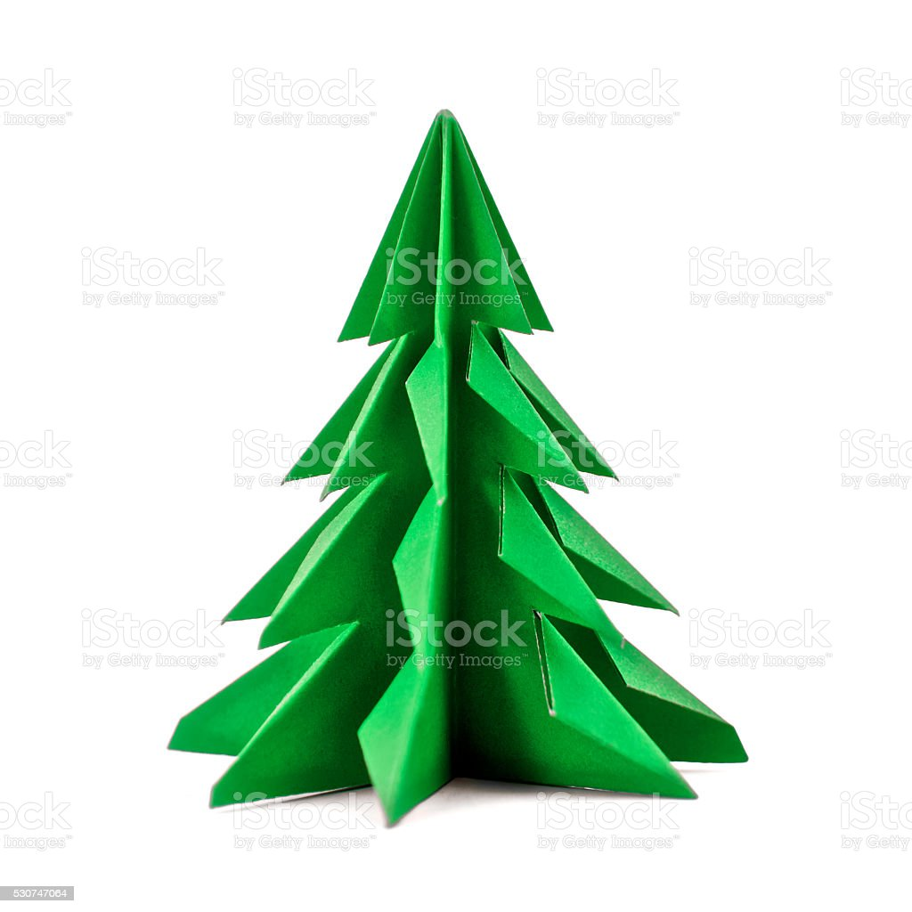 Origami Christmas tree paper isolated on white background stock photo