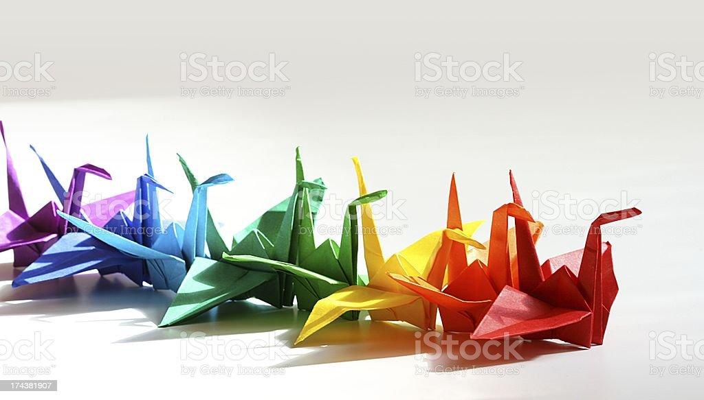 origami cranes stock photo