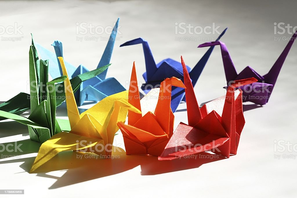origami cranes royalty-free stock photo